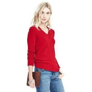 Banana Republic Red Merino Wool V-neck Sweater